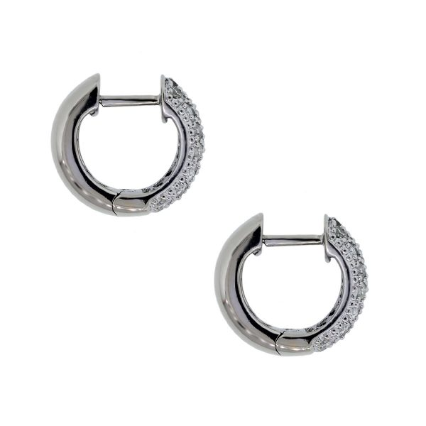 White Gold, 1.26ctw of Pave Diamond Huggie Earrings