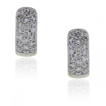 You are viewing these 14k Two Tone, Pave Diamond Huggie Earrings!
