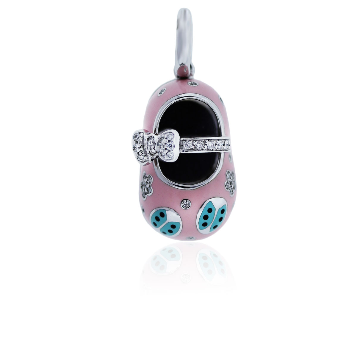 You are viewing this Aaron Basha 18K White Gold Pink Enamel Diamond Baby Shoe Charm!
