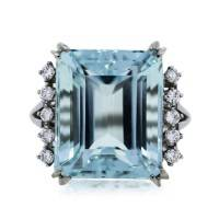 Emerald Cut 21.92ct Aquamarine and Diamond Cocktail Ring