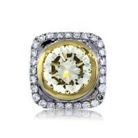 Two Tone Gold 6.65ct Fancy Light Yellow Diamond Engagement Ring