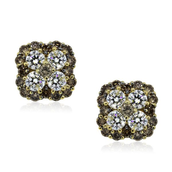 You are Viewing these Stunning Cognac and White Diamond Earrings!