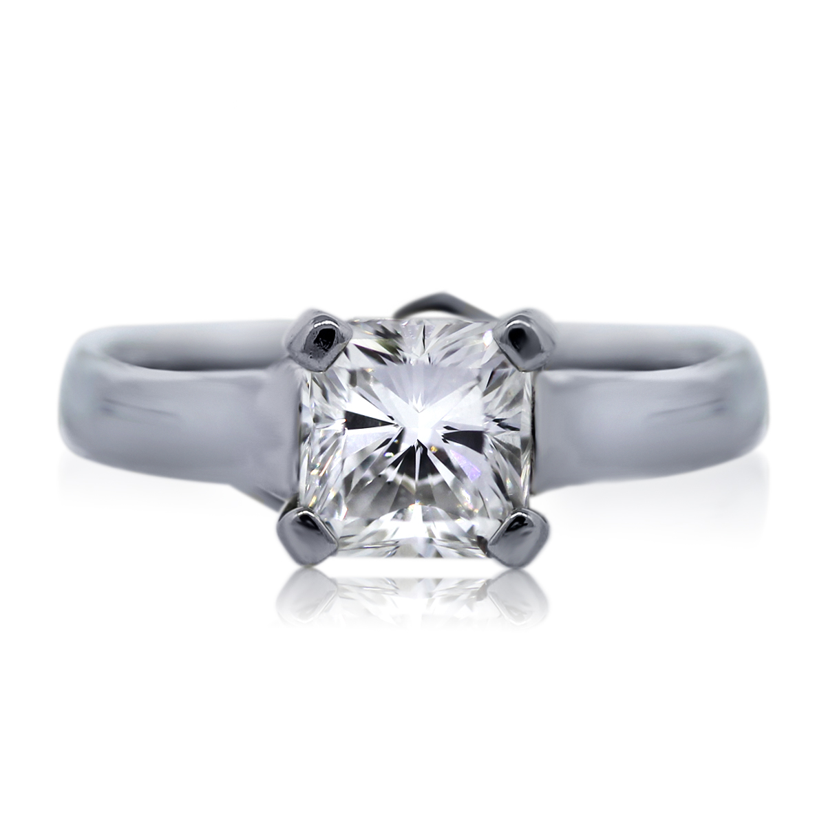 Platinum GIA 1 01ct Square Radiant Cut Diamond Engagement Ring