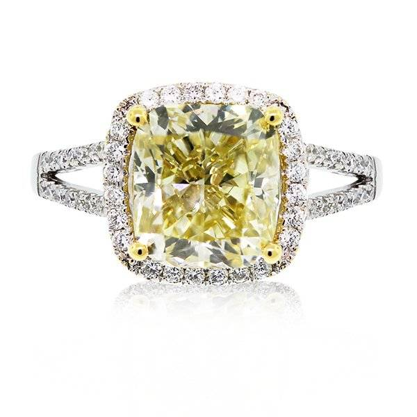 Cushion cut fancy yellow