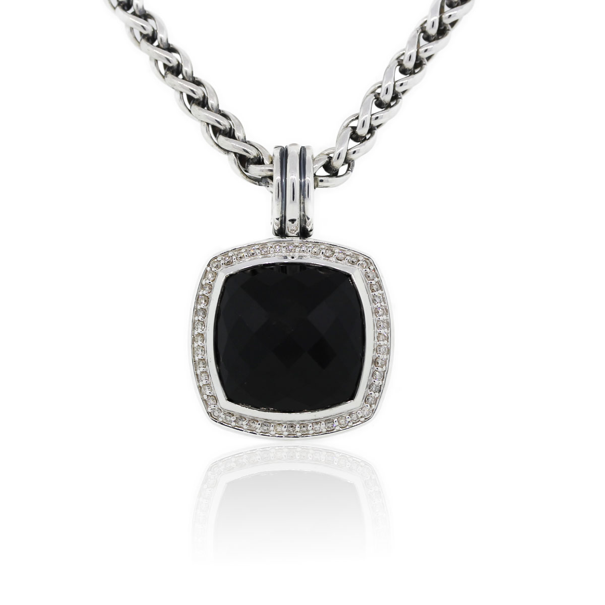 You are viewing this David Yurman Onyx Albion and Diamond Sterling Silver Pendant Necklace!