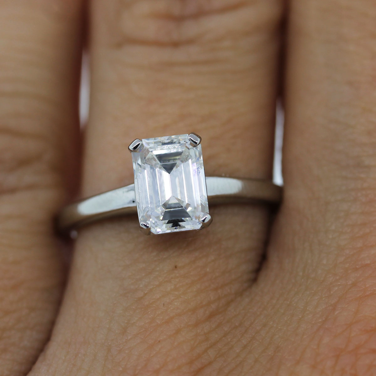 platinum gia certified emerald cut solitaire. Black Bedroom Furniture Sets. Home Design Ideas