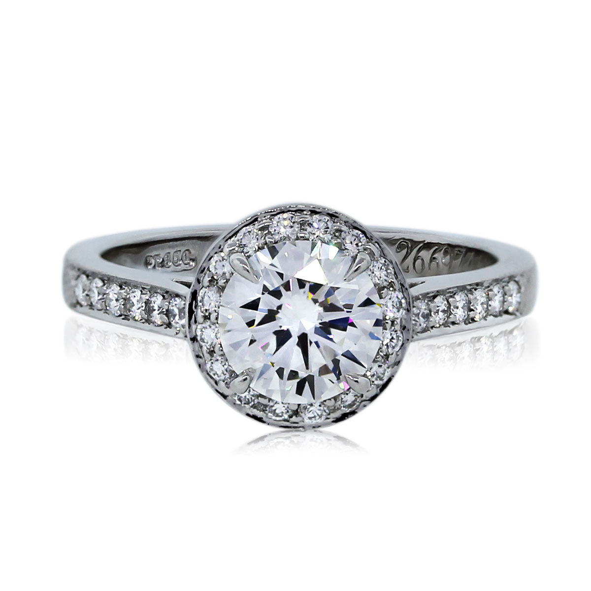 Tiffany co platinum 101ct round brilliant halo for Halo engagement rings with wedding bands