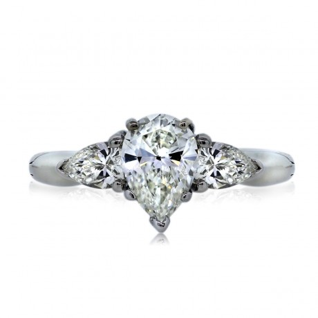 Platinum GIA Certified 0.90ct Pear Shaped Diamond Engagement Ring