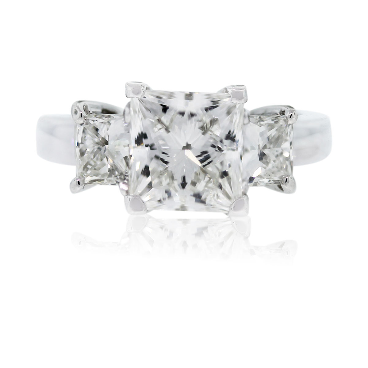 Platinum 290ctw princess cut gia certified diamond for Platinum princess cut wedding rings