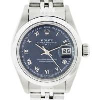 Rolex Date 79160 Blue Roman Dial Stainless Steel Ladies Watch