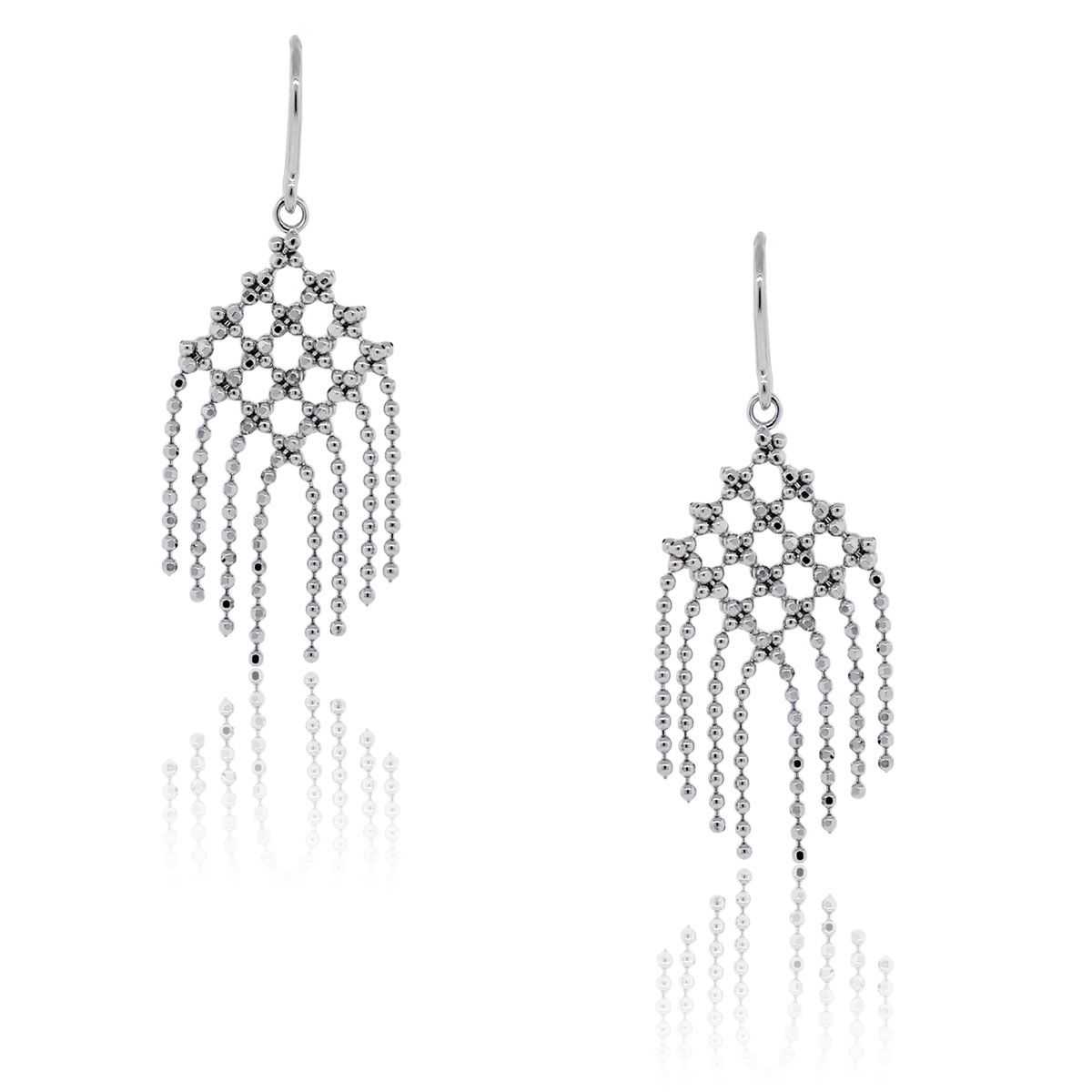You are viewing these Tiffany & Co. 18k White Gold Fringe Flower Bead Dangle Earrings!