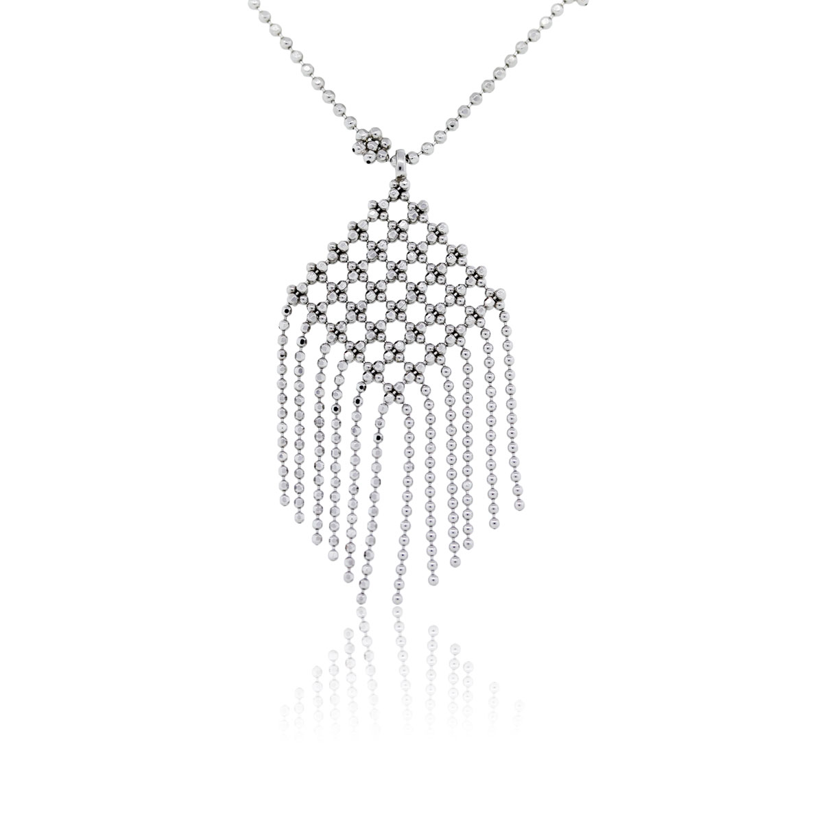 You are viewing this Tiffany & Co. 18k White Gold Fringe Flower Bead Necklace!