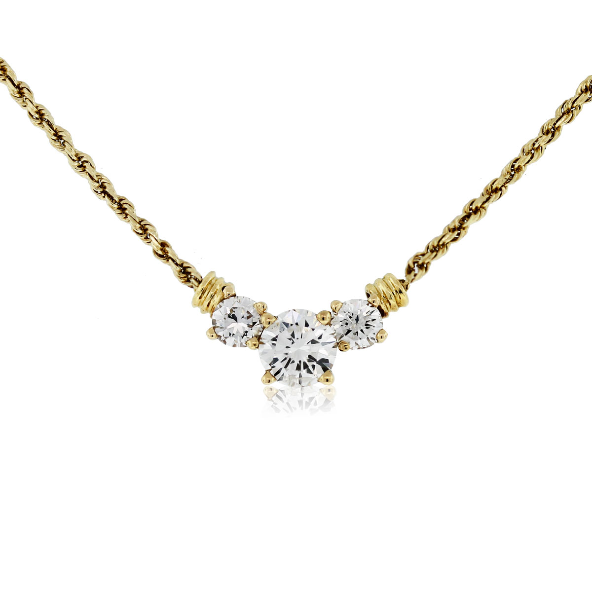 14kt Yellow Gold Three Diamond Pendant On Rope Chain Necklace