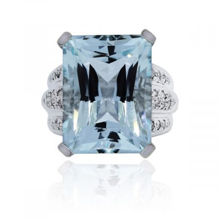 You are viewing this Radiant Cut Aquamarine & Diamond Cocktail Ring!
