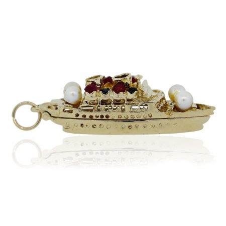 You are viewing this 14K Yellow Gold Ruby Sapphire and Pearl Bon Voyage Ship Charm!