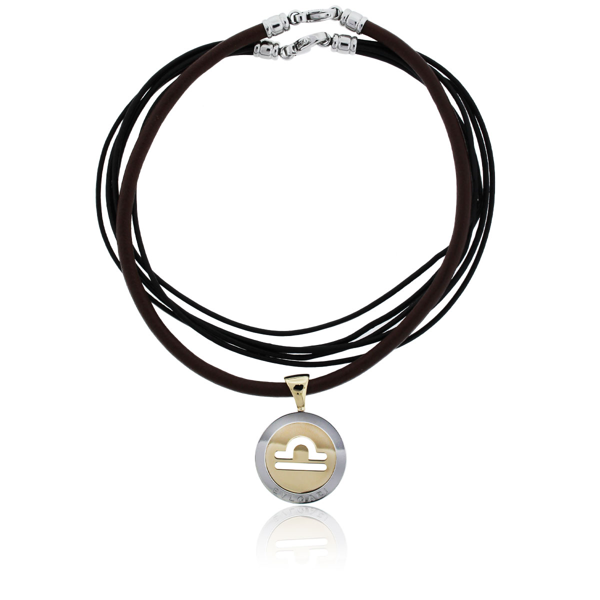 You are viewing this Bulgari 18k Two Tone Pendant On Cord Necklace!
