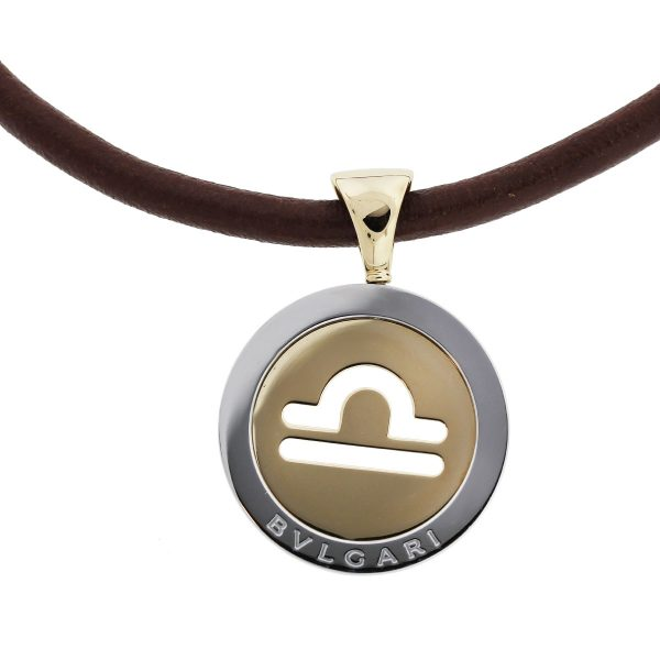 18k Two Tone Pendant On Cord Necklace