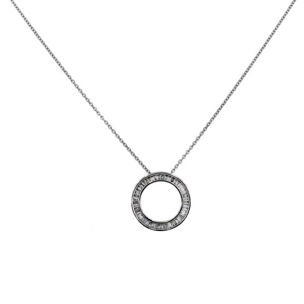 Baguette Diamond Circle Pendant On Chain