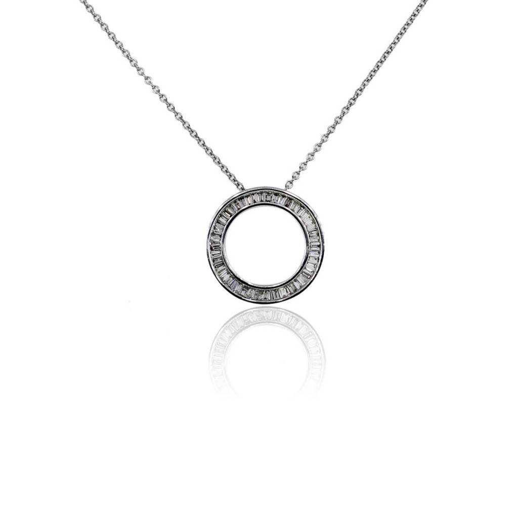 14k White Gold Baguette Diamond Circle Pendant On Chain