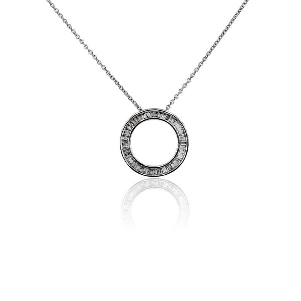 You are viewing this 14k White Gold Baguette Diamond Circle Pendant On Chain!