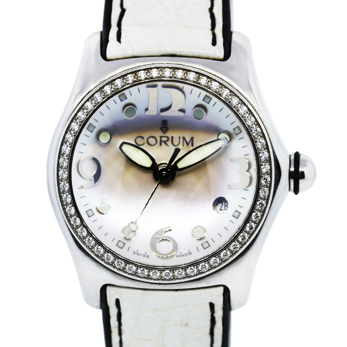 Corum Bubble 39 151 47 Mother Of Pearl Dial Diamond Bezel