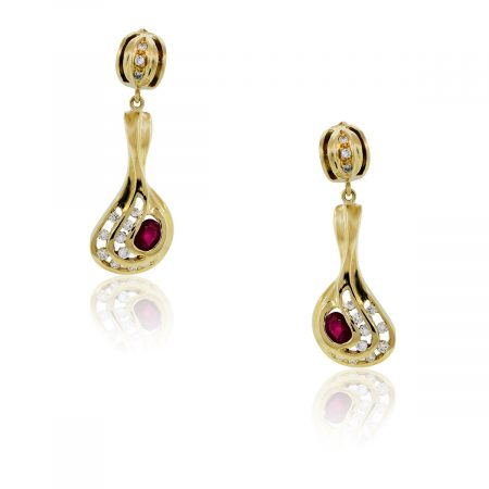 You are viewing 18k Yellow Gold, Diamond and Ruby Dangle Drop Earrings!