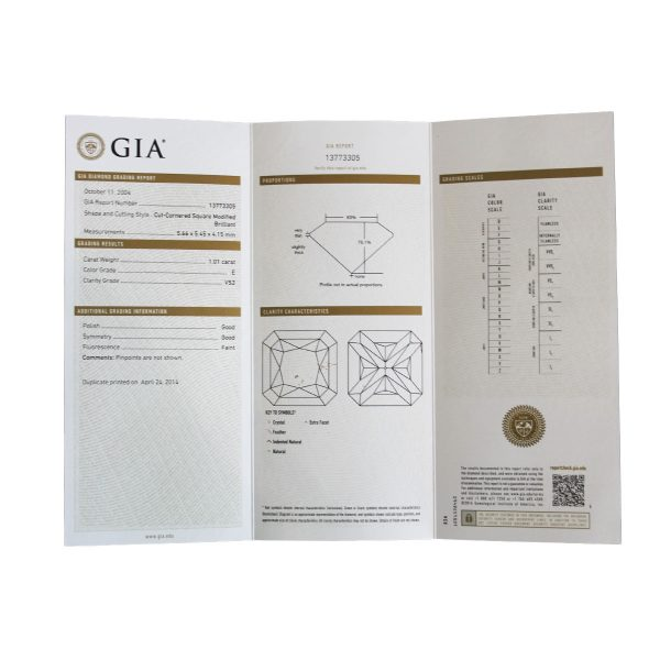 GIA Certified 1.01ct Square Radiant Cut Diamond Engagement Ring