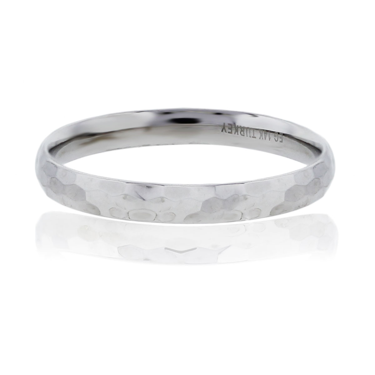 You are viewing this 14k White Gold Handmade Hammered Wedding Band Men's Ring!