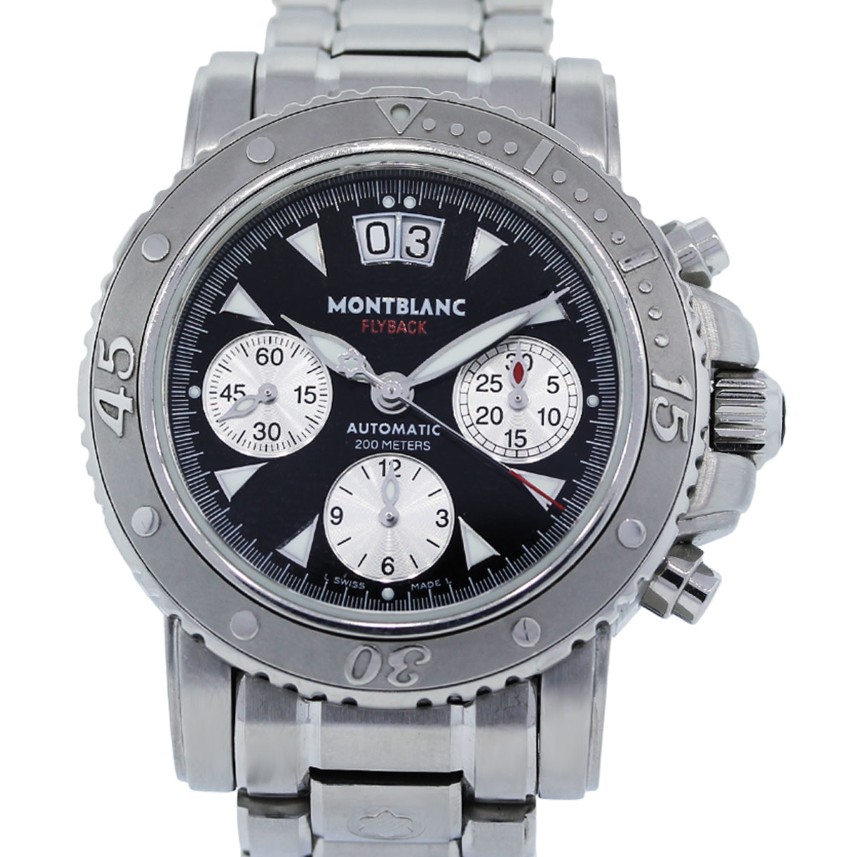 You are viewing this MontBlanc Flyback 7059 Stainless Steel Chronograph Watch!
