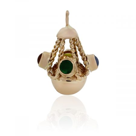 You are viewing this 18k Yellow Gold Semi Precious Multi-Colored Cabochon Charm!