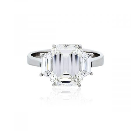 You are viewing this Platinum 4.24ct Three Stone Diamond Engagement Ring With GIA!