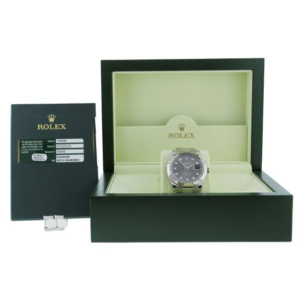 Rolex Datejust 2 116334 Diamond Dail Stainless Steel Gents Watch Box and Papers