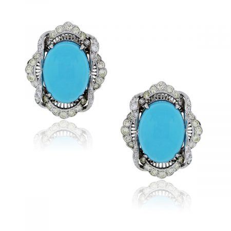Your are viewing these 18k White Gold Diamond Cabochon Shape Turquoise Earrings!