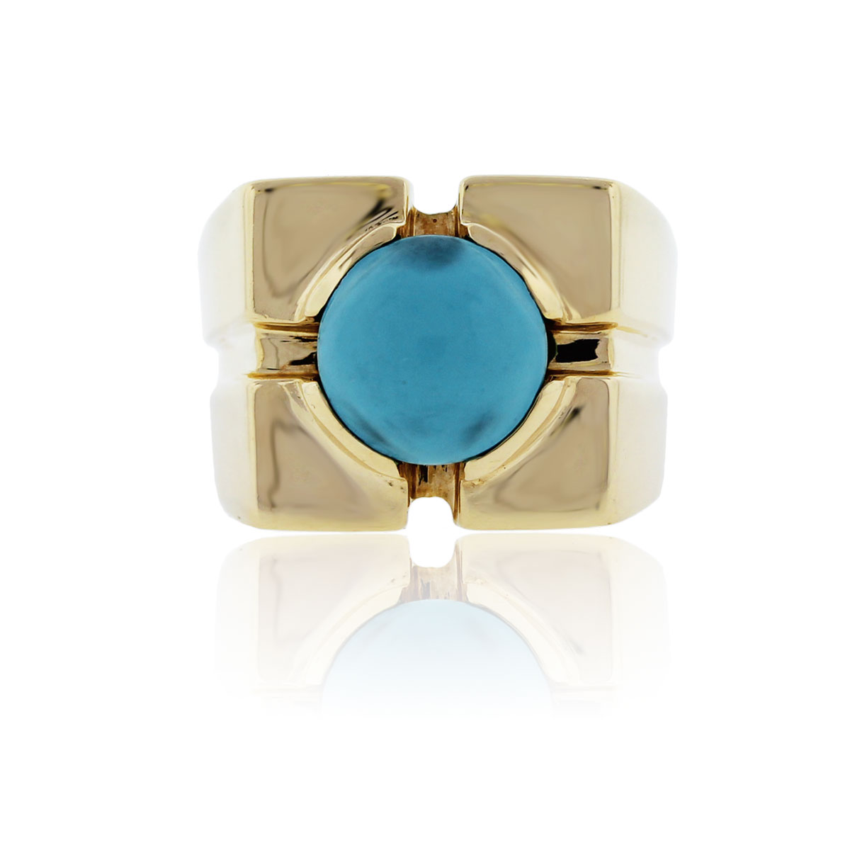 You are viewing this 18k Yellow Gold Round Turquoise Cocktail Ring!