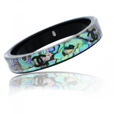 You are viewing this Chanel Mother of Pearl Mosaic Bangle Bracelet!