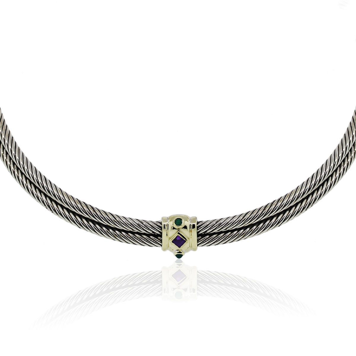 You are viewing this David Yurman Two Tone Renaissance Cable Choker Necklace!