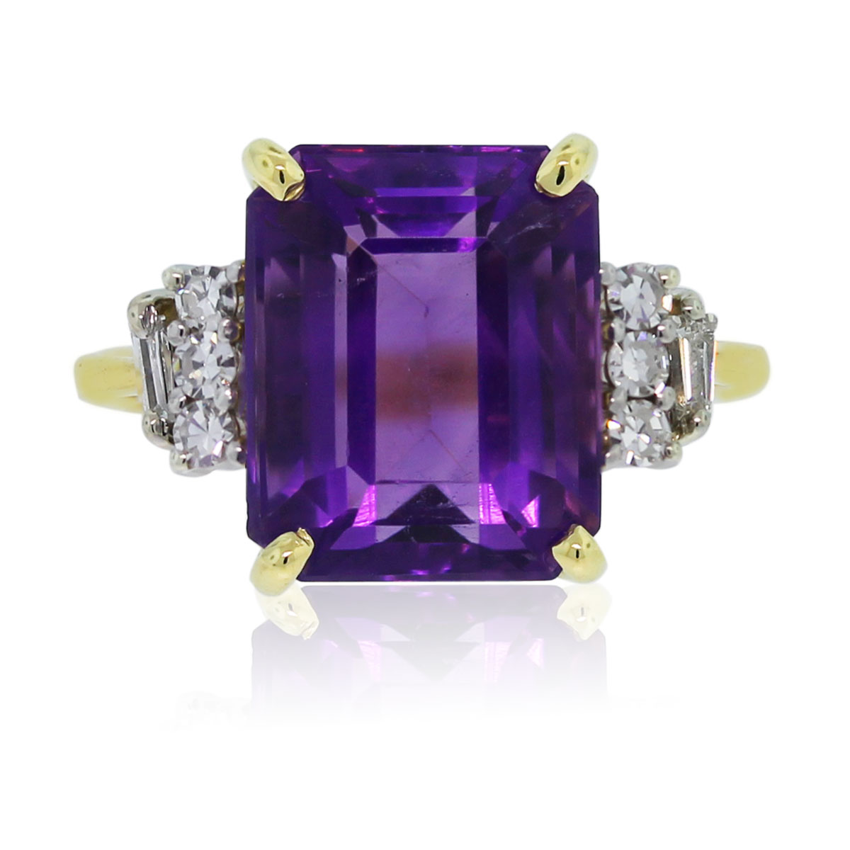 18k Yellow Gold Emerald Cut Amethyst Amp Diamond Ring