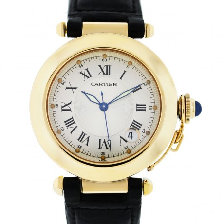 Cartier Pasha 1028 Yellow Gold on Black Leather Strap
