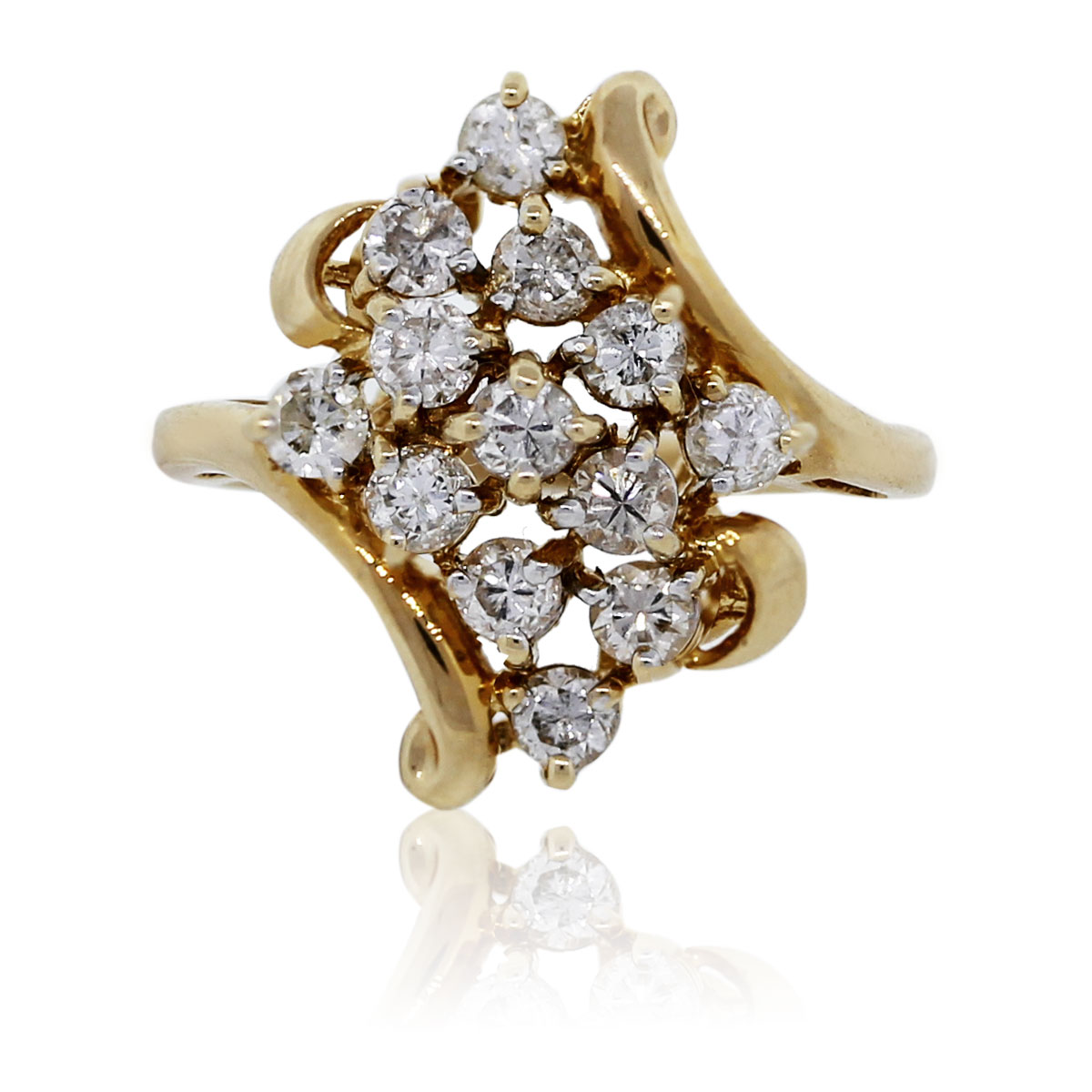 14k yellow gold brilliant cluster ring