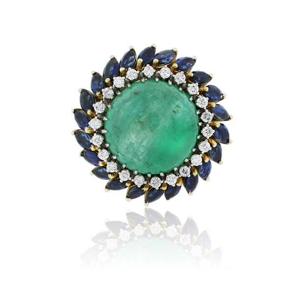 Emerald and Sapphire Cabochon ring
