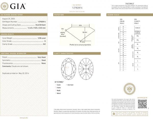 Engagement ring GIA Certificate