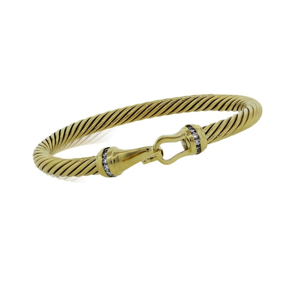 David yurman diamond 18k yellow gold 5 mm cable bracelet for David yurman inspired bracelet cable