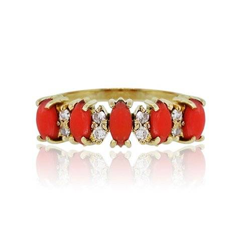 Gold and coral ring