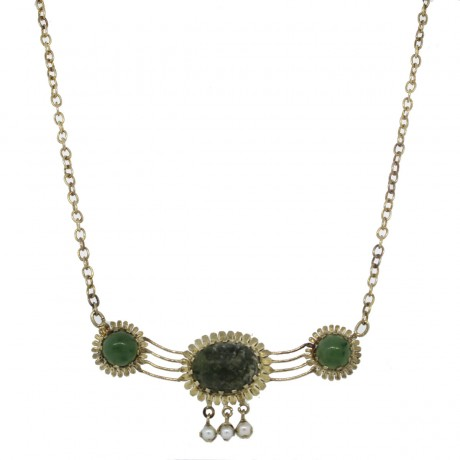 14k Yellow Gold Cabochon Jade & Pearl Necklace