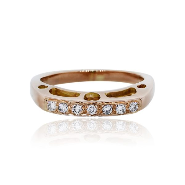 You are viewing this 18k Rose Gold Round Diamonds Stackable Ring!