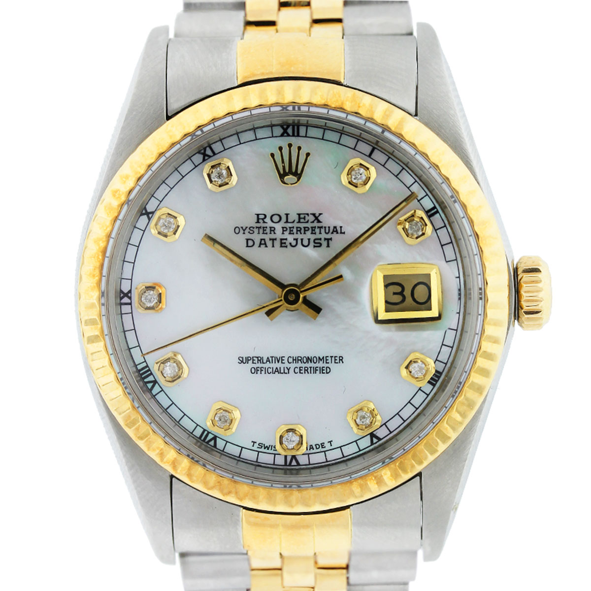 Rolex Datejust 16013 Two Tone Mother Of Pearl Diamond Dial