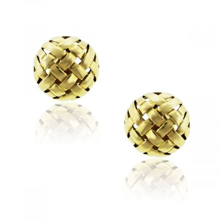tiffany & Co. 18k Yellow Gold Woven Button Earrings!