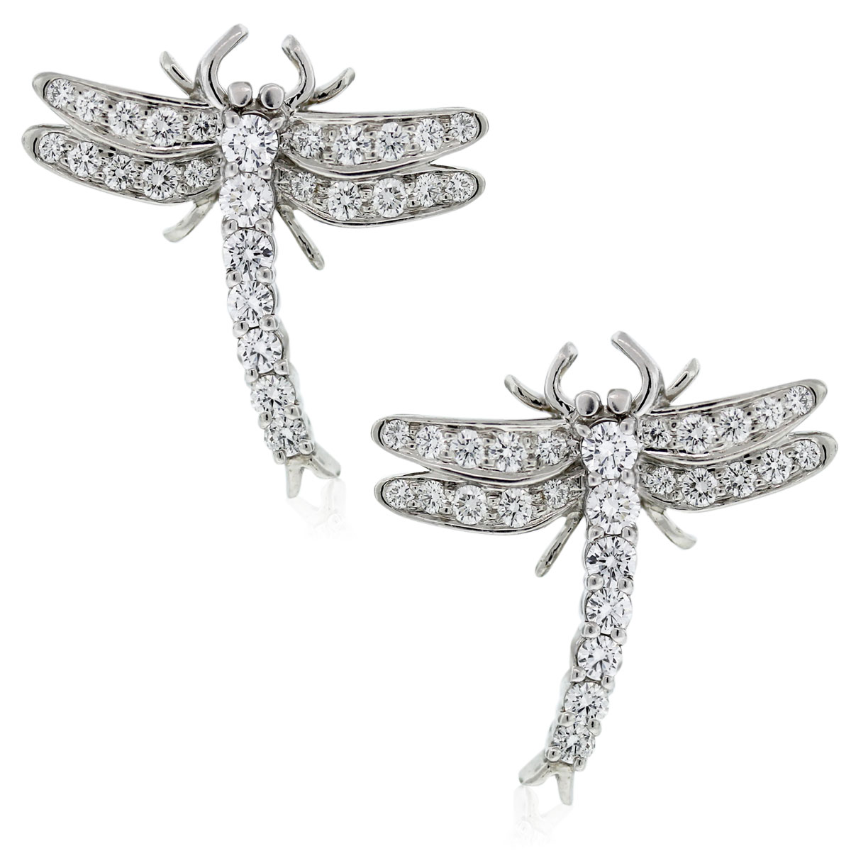 Platinum Round Brilliant Diamond Dragonfly Earrings
