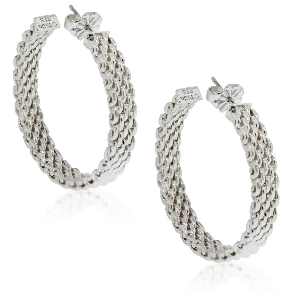 7a3fdc140 Tiffany & Co. Sterling Silver Somerset Mesh Hoops