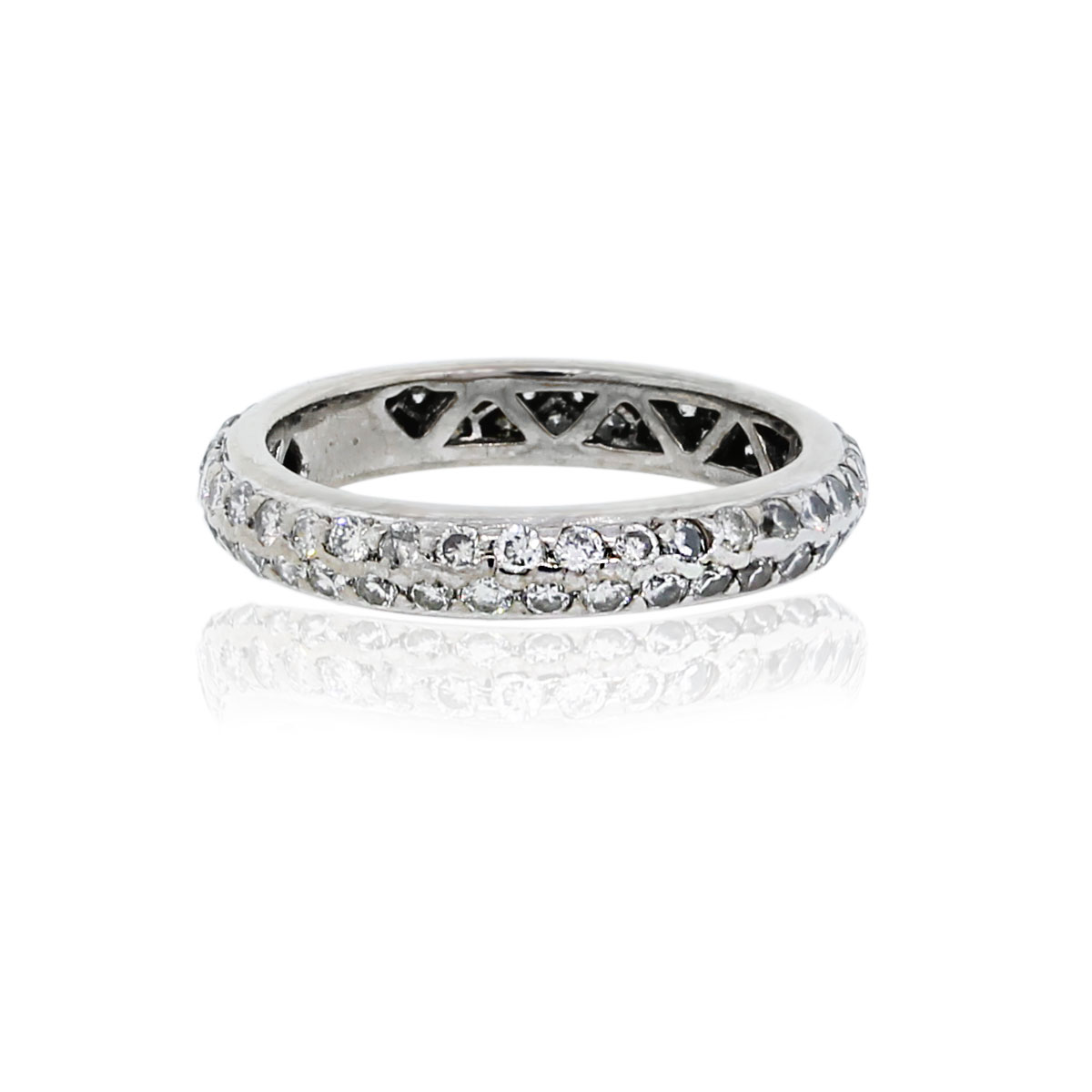 You are viewing this 18K White Gold Pave Round Brilliant Diamond Band Ring!